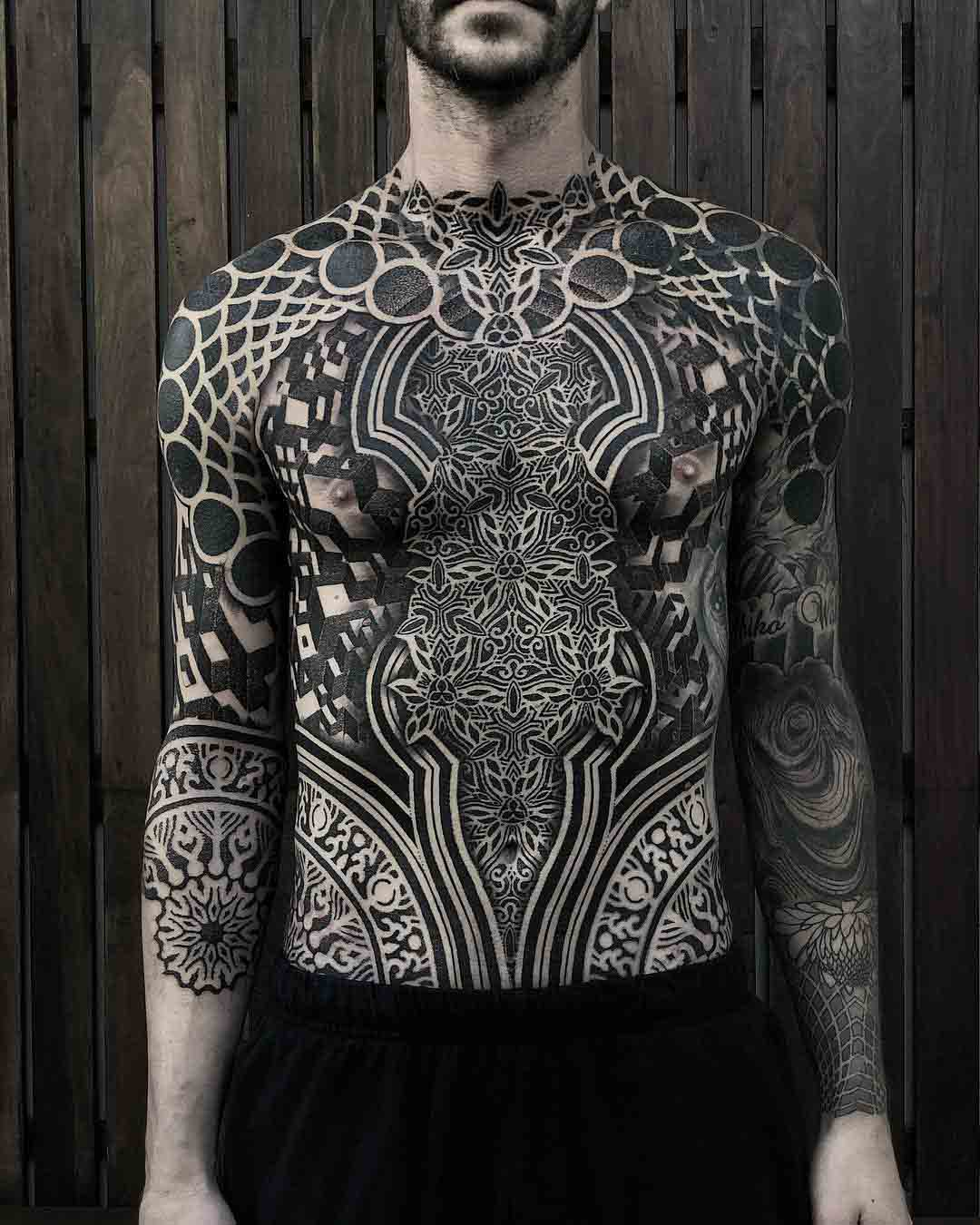 torso tattoo dotwork ornament