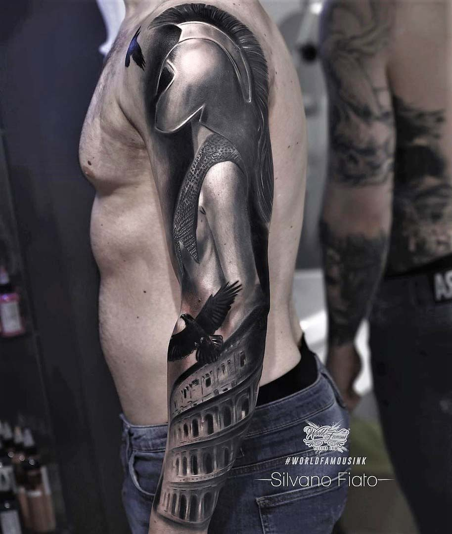 tattoo sleeve gladiator roman girl