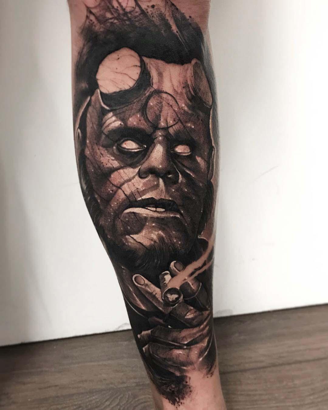 calf tattoo hellboy