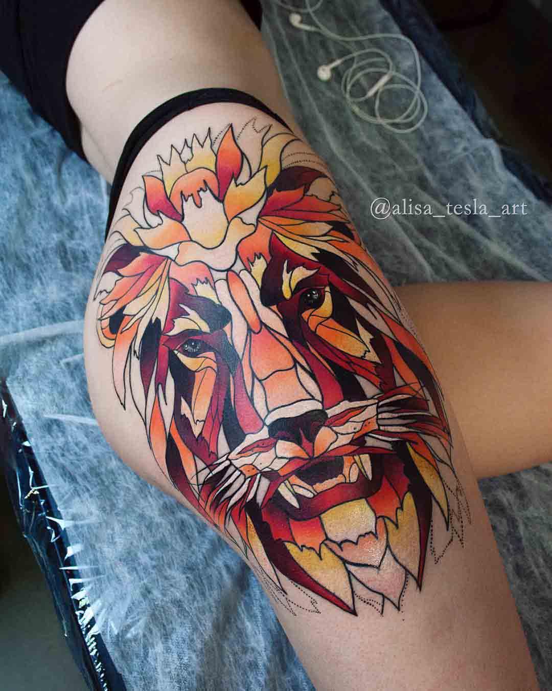 hip tattoo lion