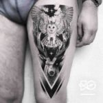 Owl and Deer Tattoo on Thigh