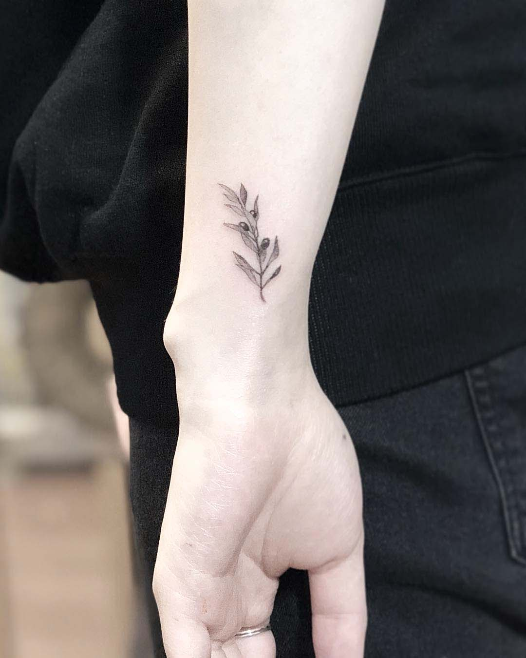 olive branch small tattoo