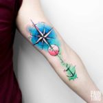 Watercolor Wind Rose and Anchor Tattoo