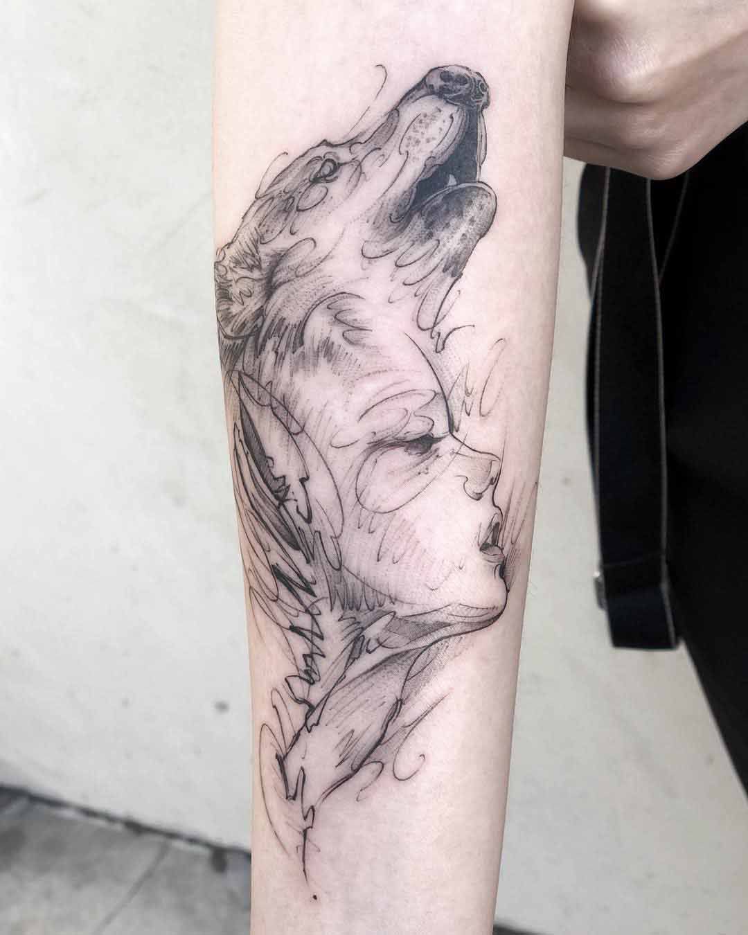 arm sketchy tattoo wolf and girl