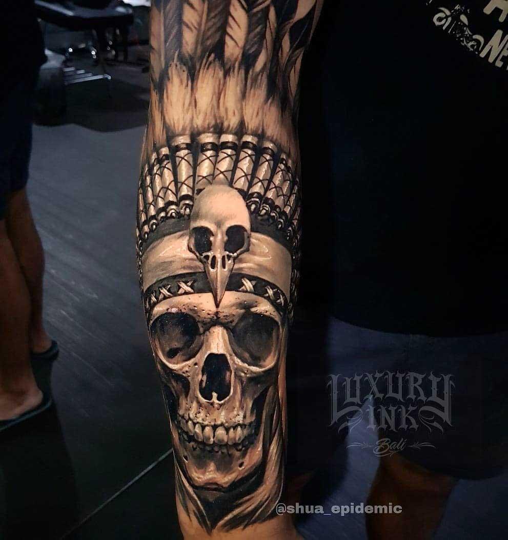 indian feathers skull tattoo