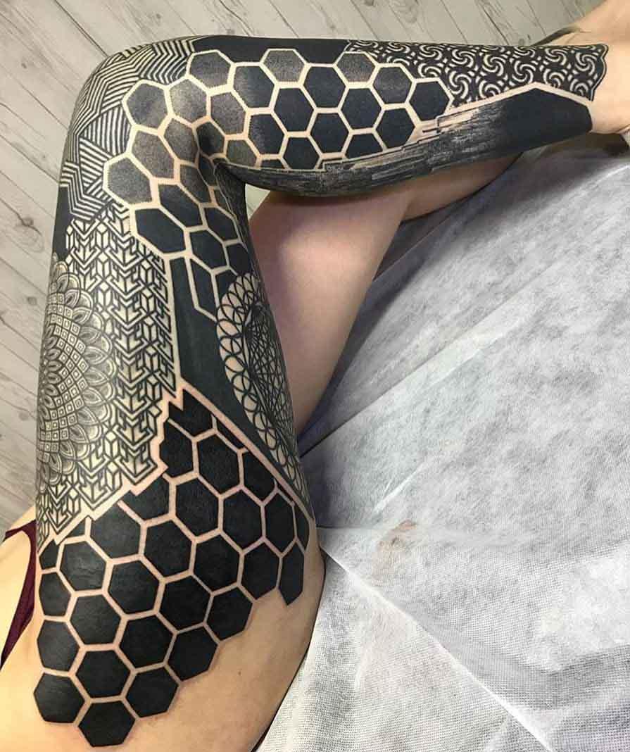 leg tattoo sleeve blackwork