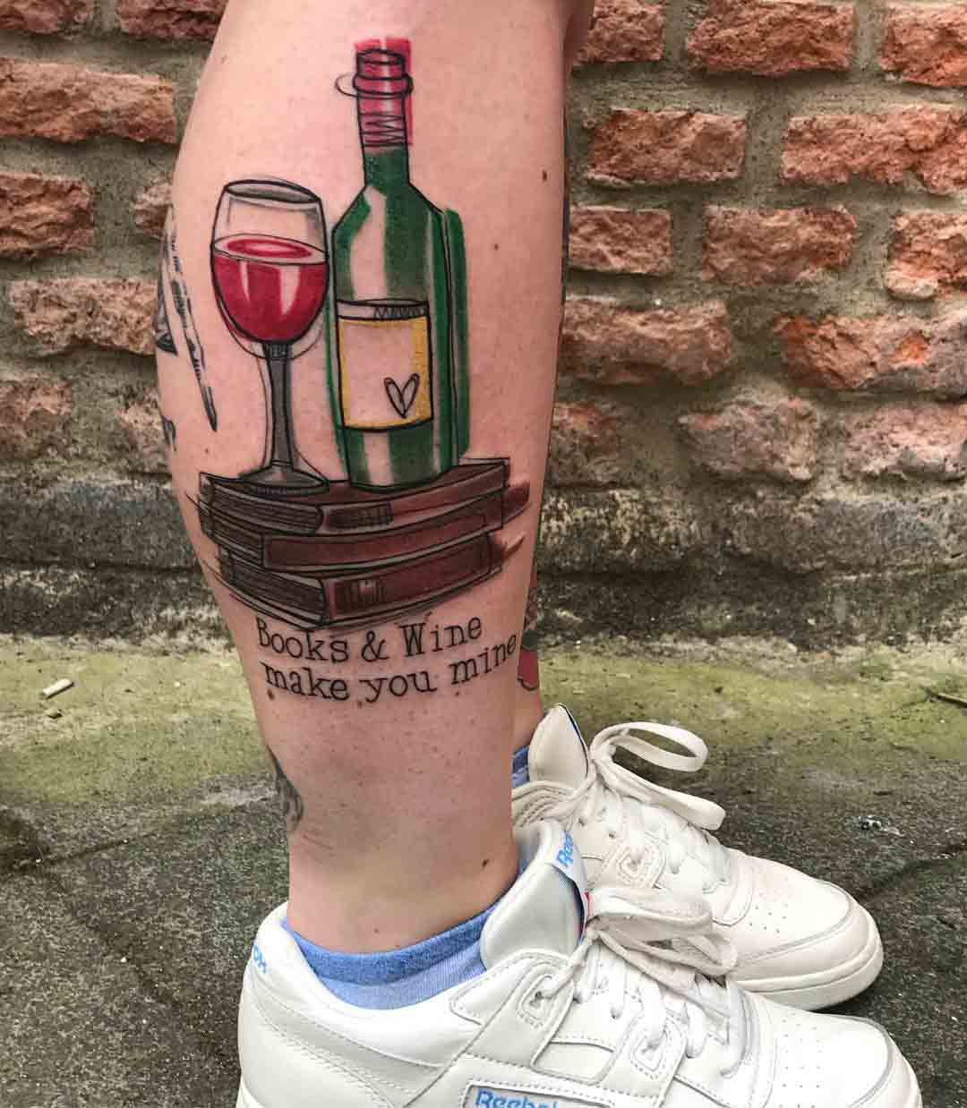 calf tattoo books and wine