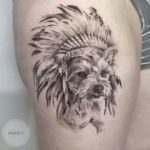 Indian Dog Tattoo on Thigh