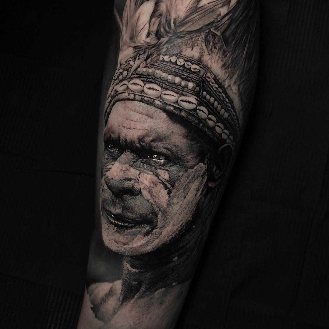grey realistic indian tattoo