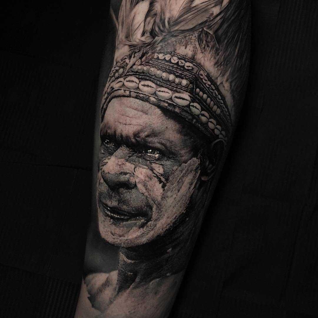 grey realistic indian tattoo