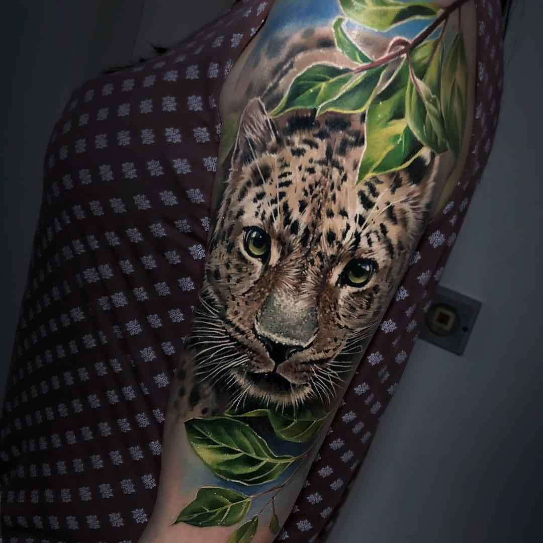 leaf tattoo leopard