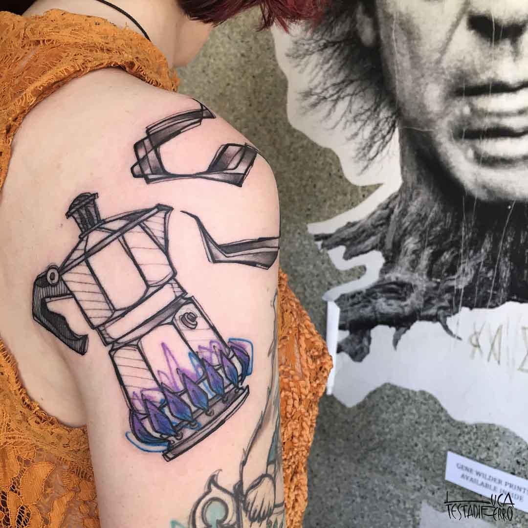 back of shoulder tattoo moka pot