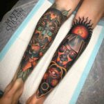 Neo-Traditional Tattoos on Calf