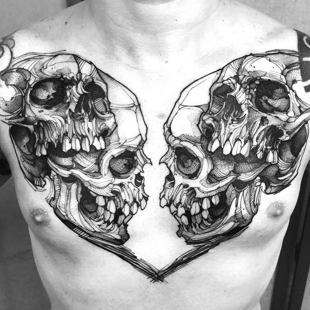 chest tattoo skulls
