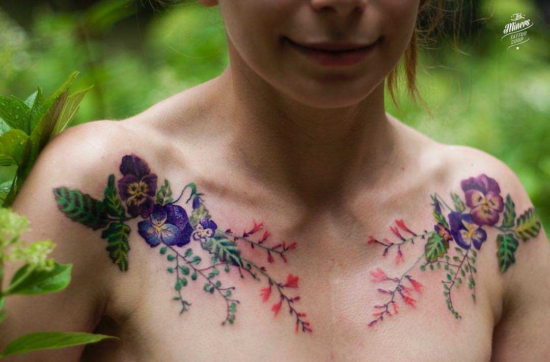 flower tattoos on collar bones