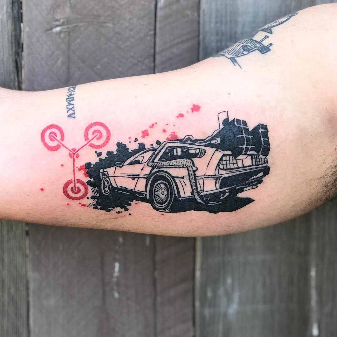arm tattoo DeLorean
