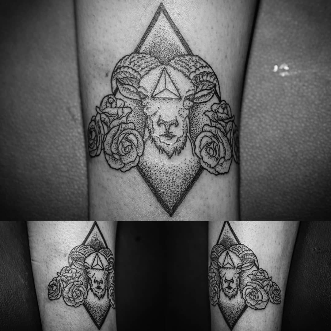 ram tattoo dotwork
