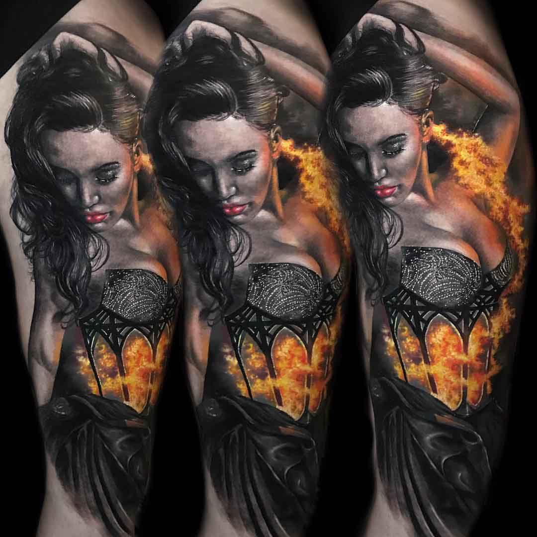 tattoo of girl in flames