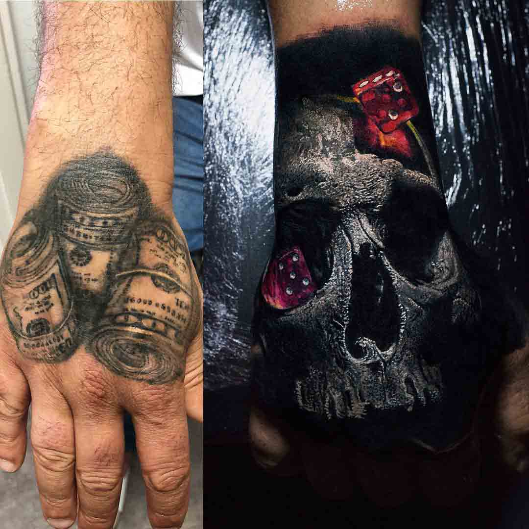 hand tattoo cover up gambler