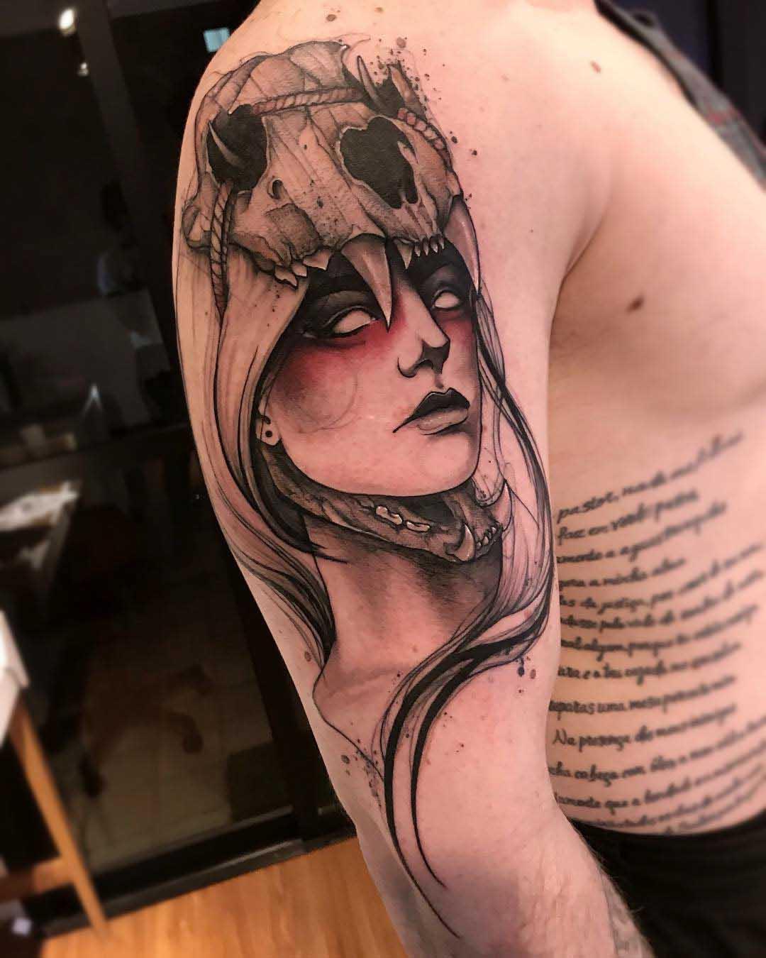 shoulder tattoo girl in skull