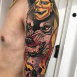 Hannya Wolf Skull Tattoo on Shoulder