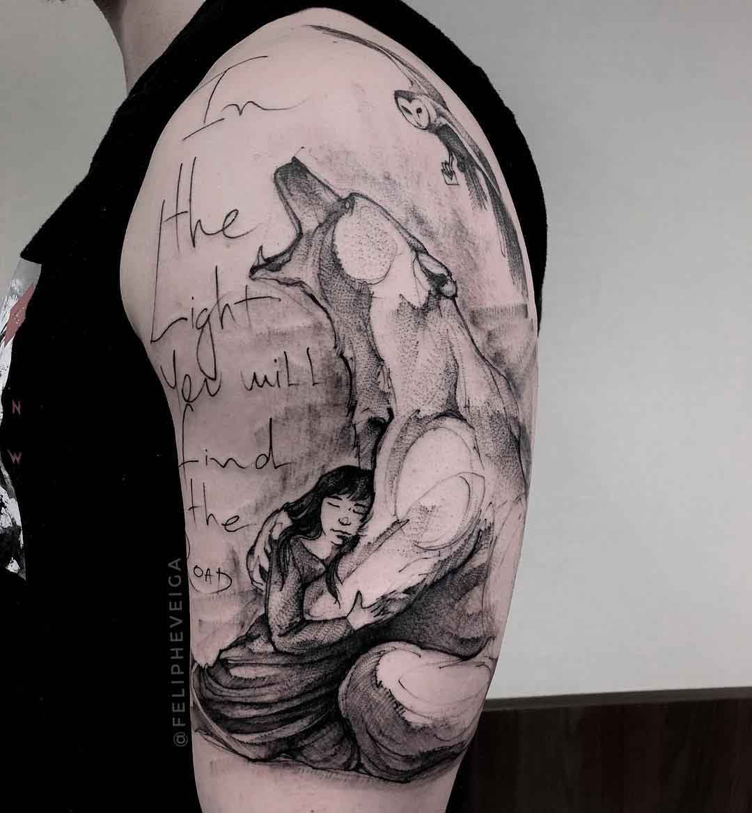 polar tattoo on shoulder