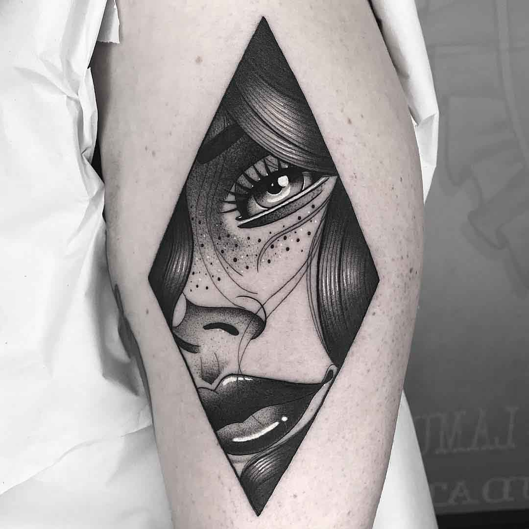 portrait girl tattoo