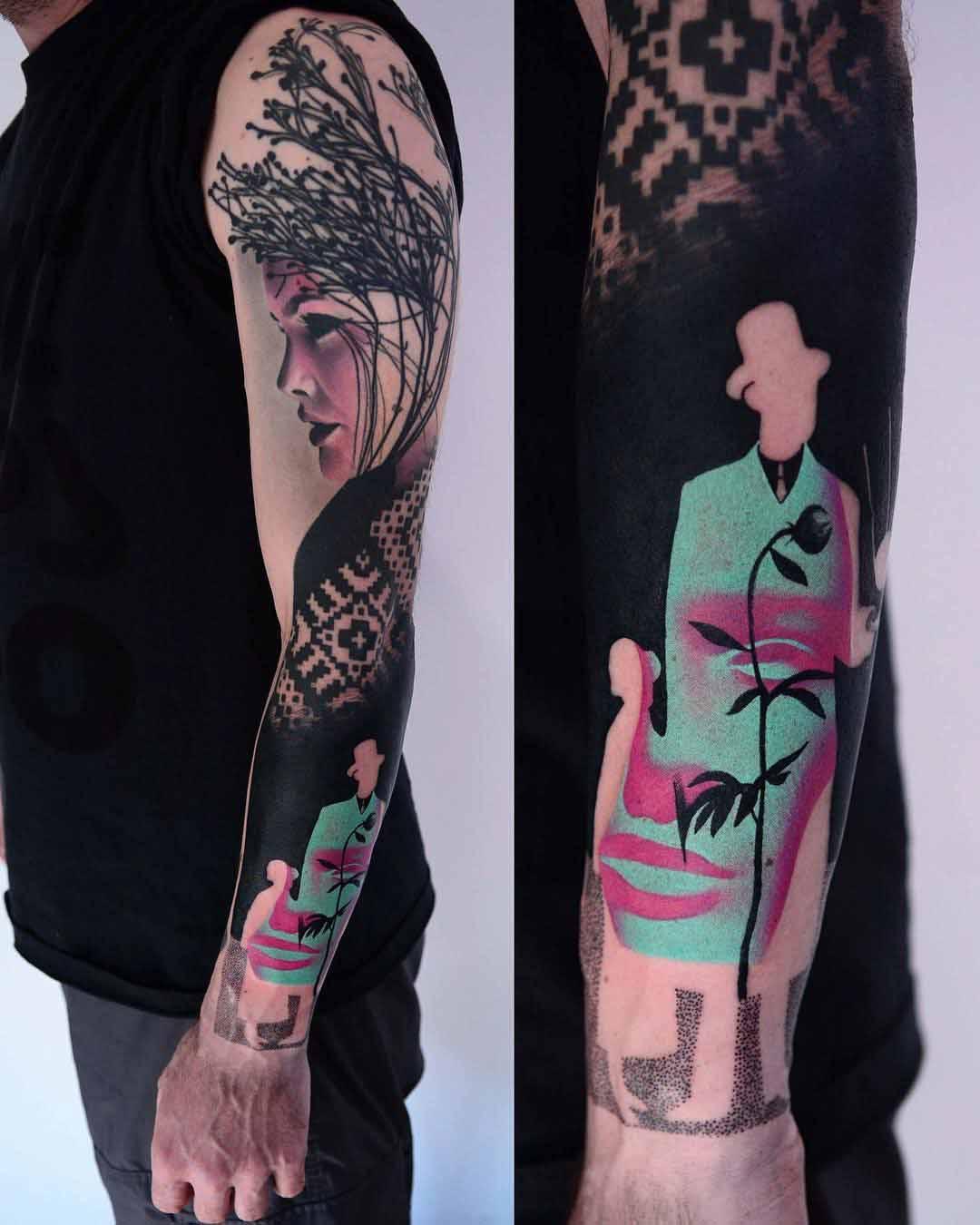 ukrainian girl tattoo sleeve