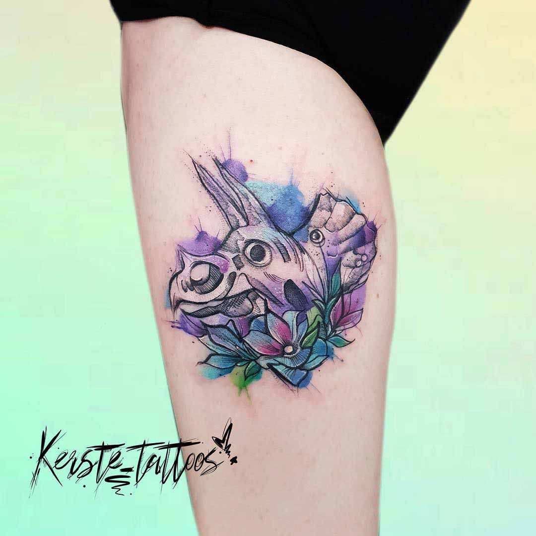 calf triceratops tattoo watercolor style