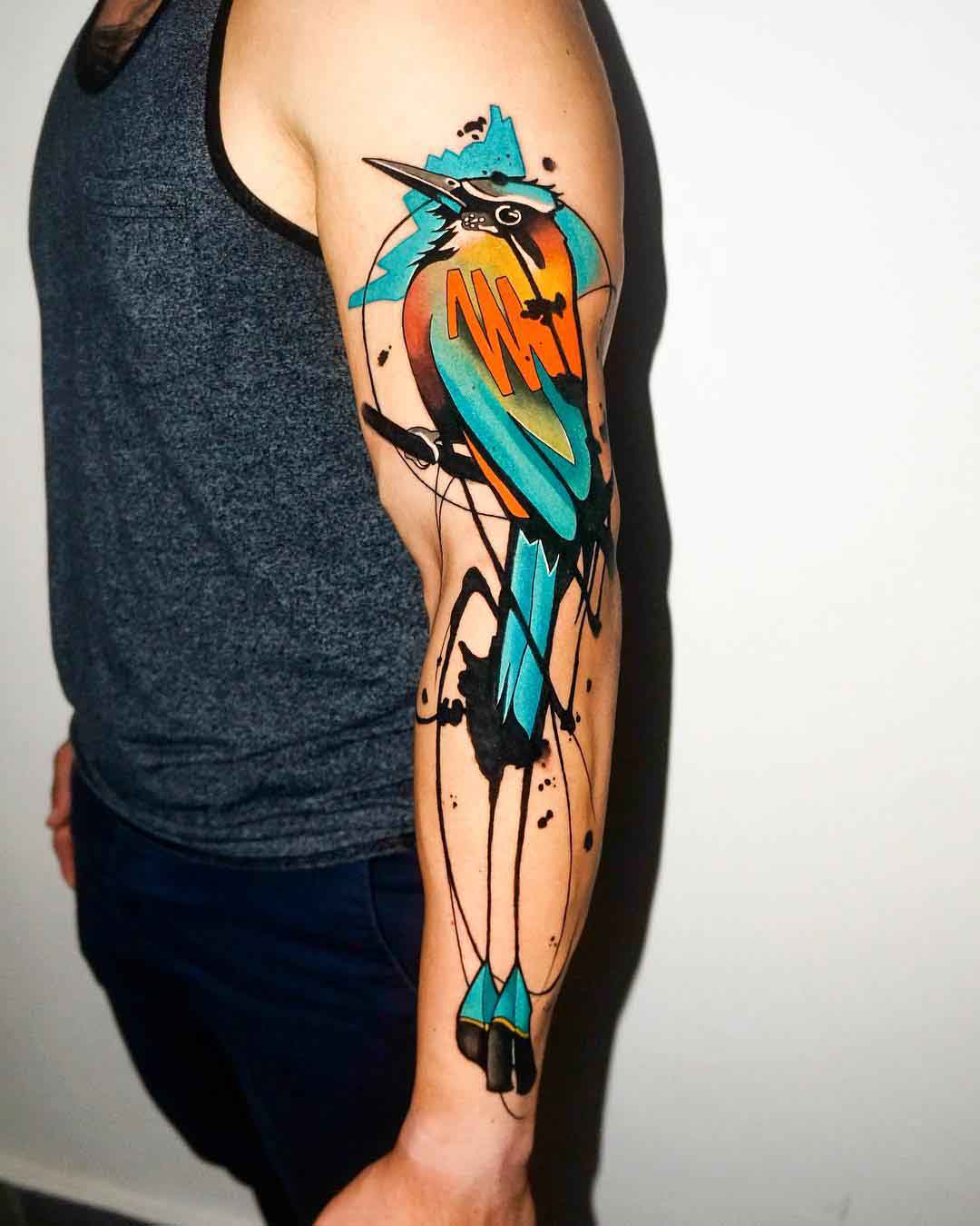 shoulder tattoo bird motmot