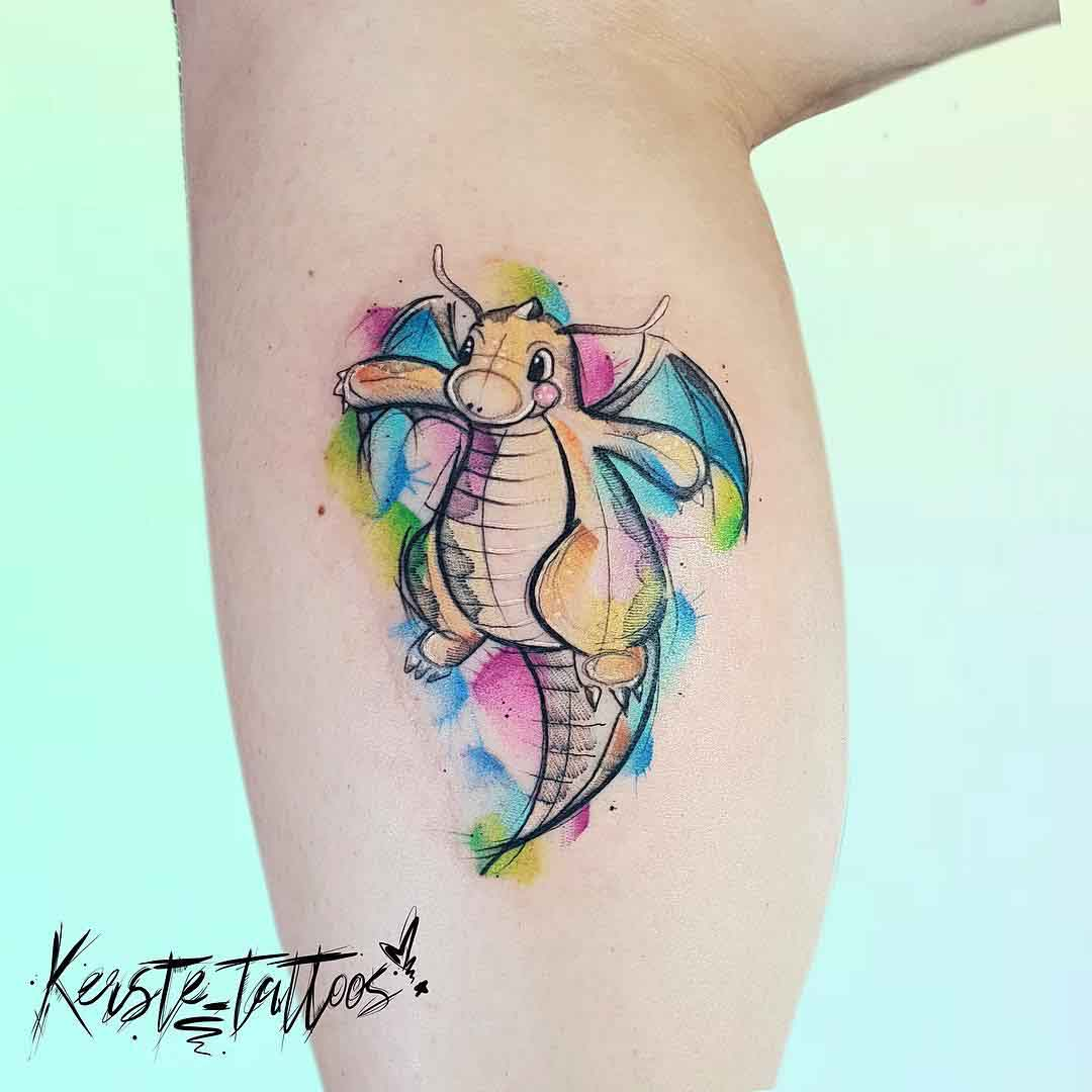 watercolor dragon tattoo