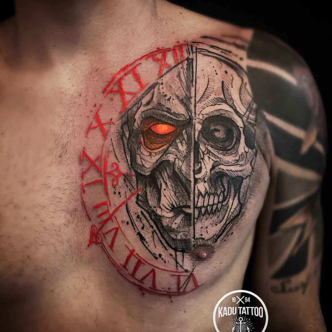 chest tattoo clock demon