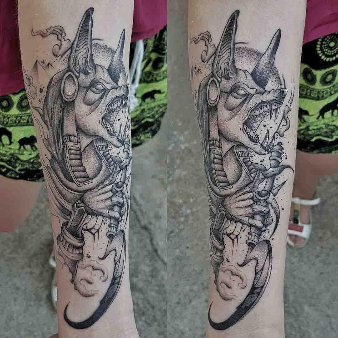 anubis tattoo dotwork