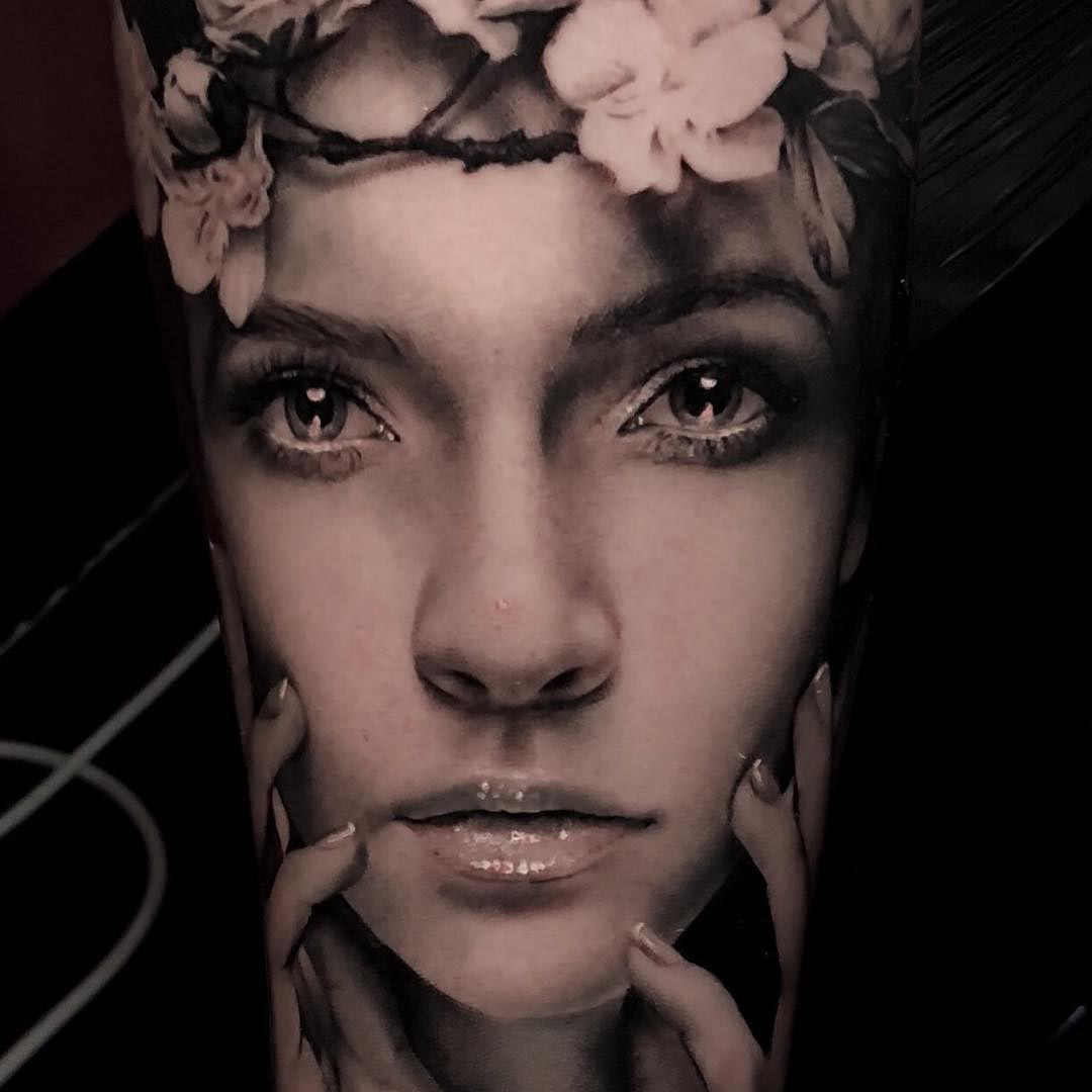 portrait tattoo realism grey