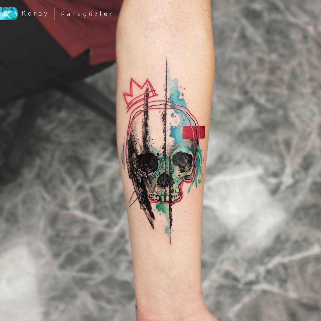 arm tattoo skull