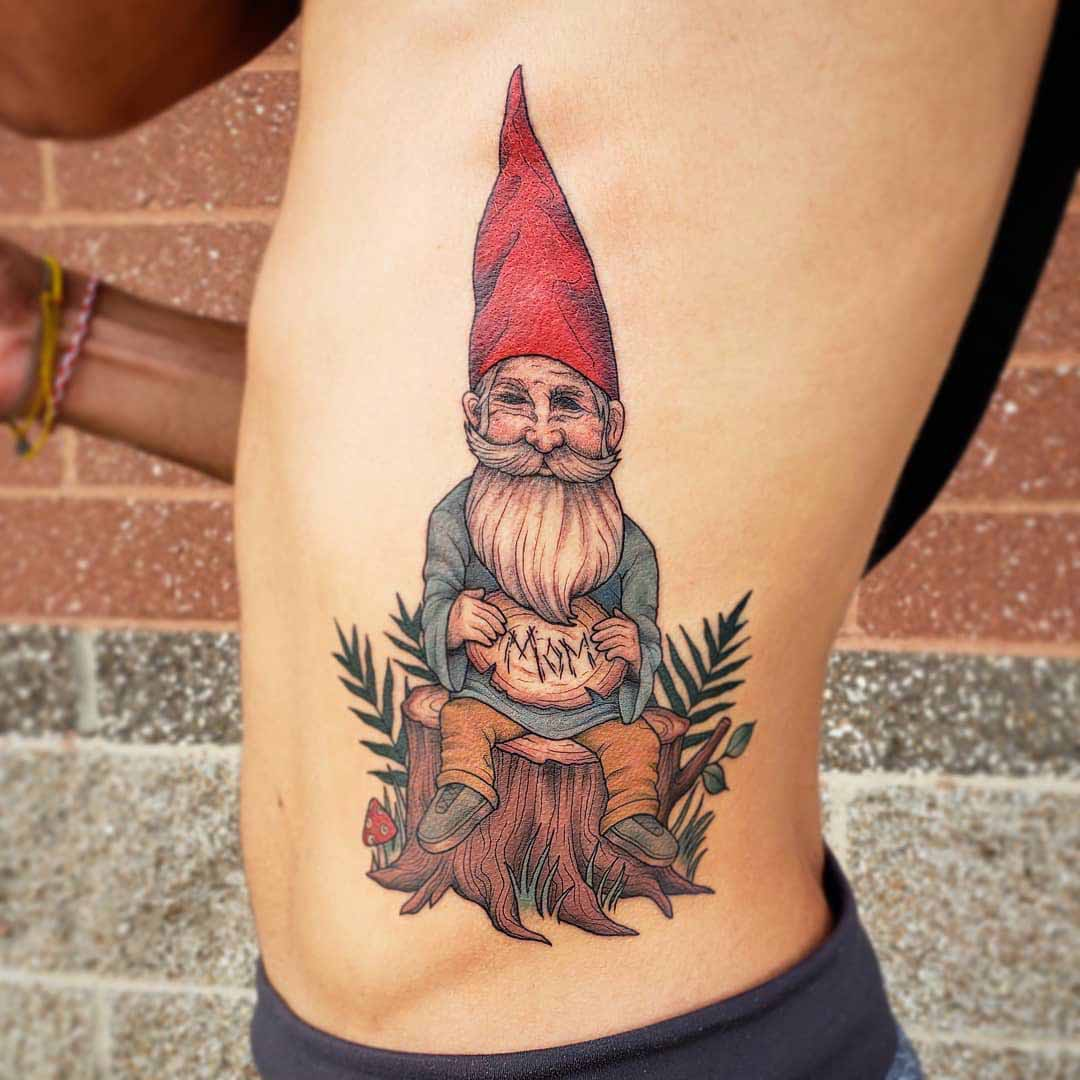 torso side tattoo gnome