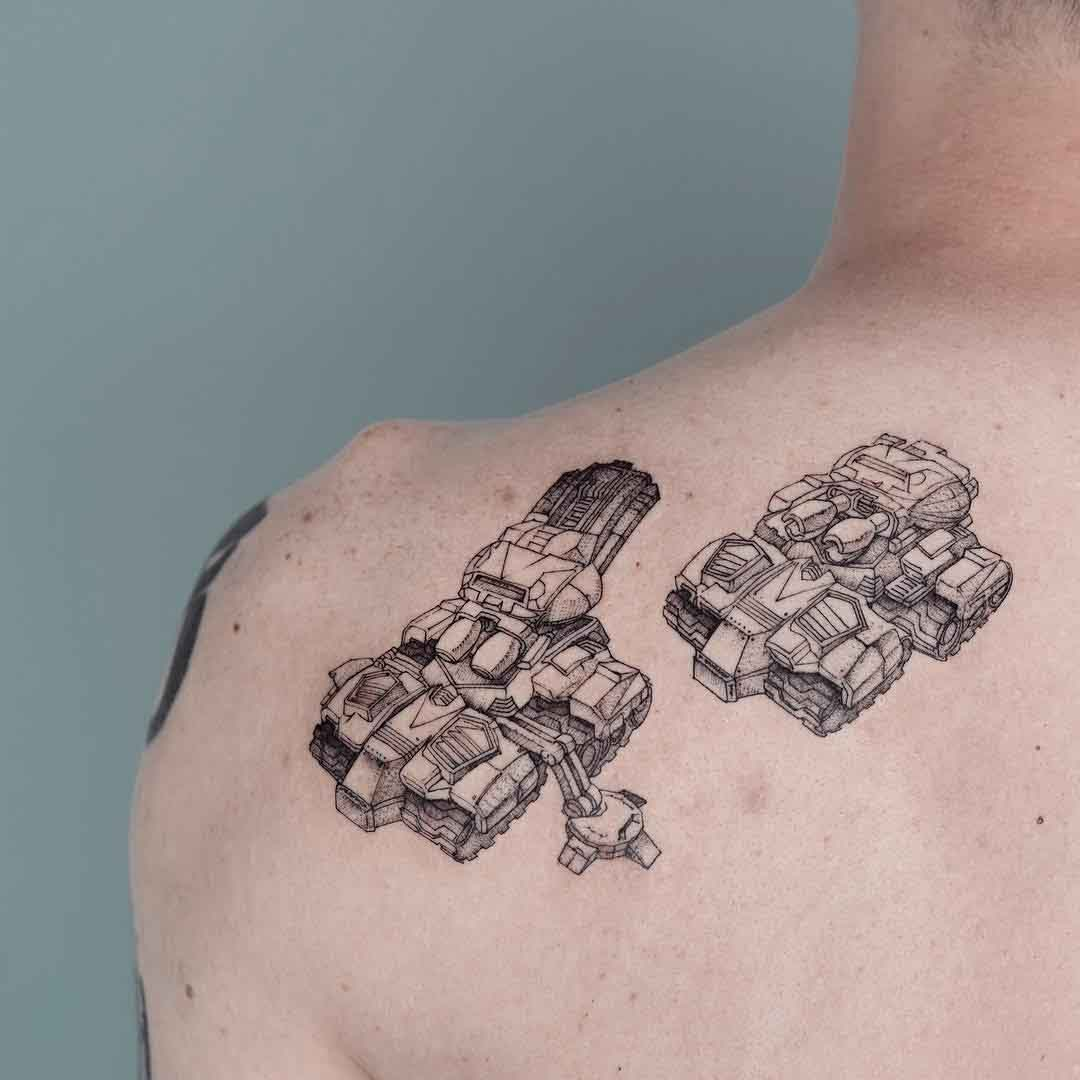 shoulder blade siege tank tattoo