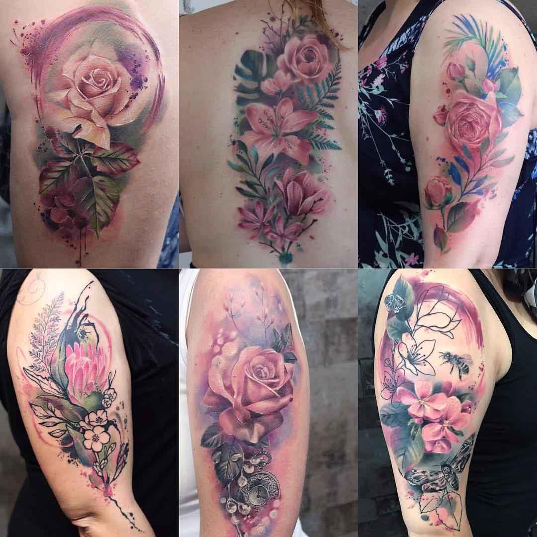 flower tattoo watercolor