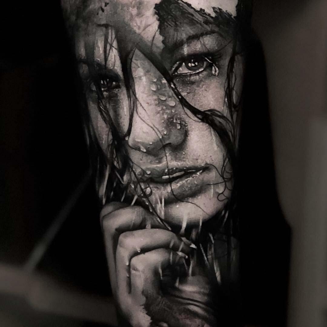 black and grey girl portrait tattoo