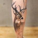 Deer Tattoo on Calf