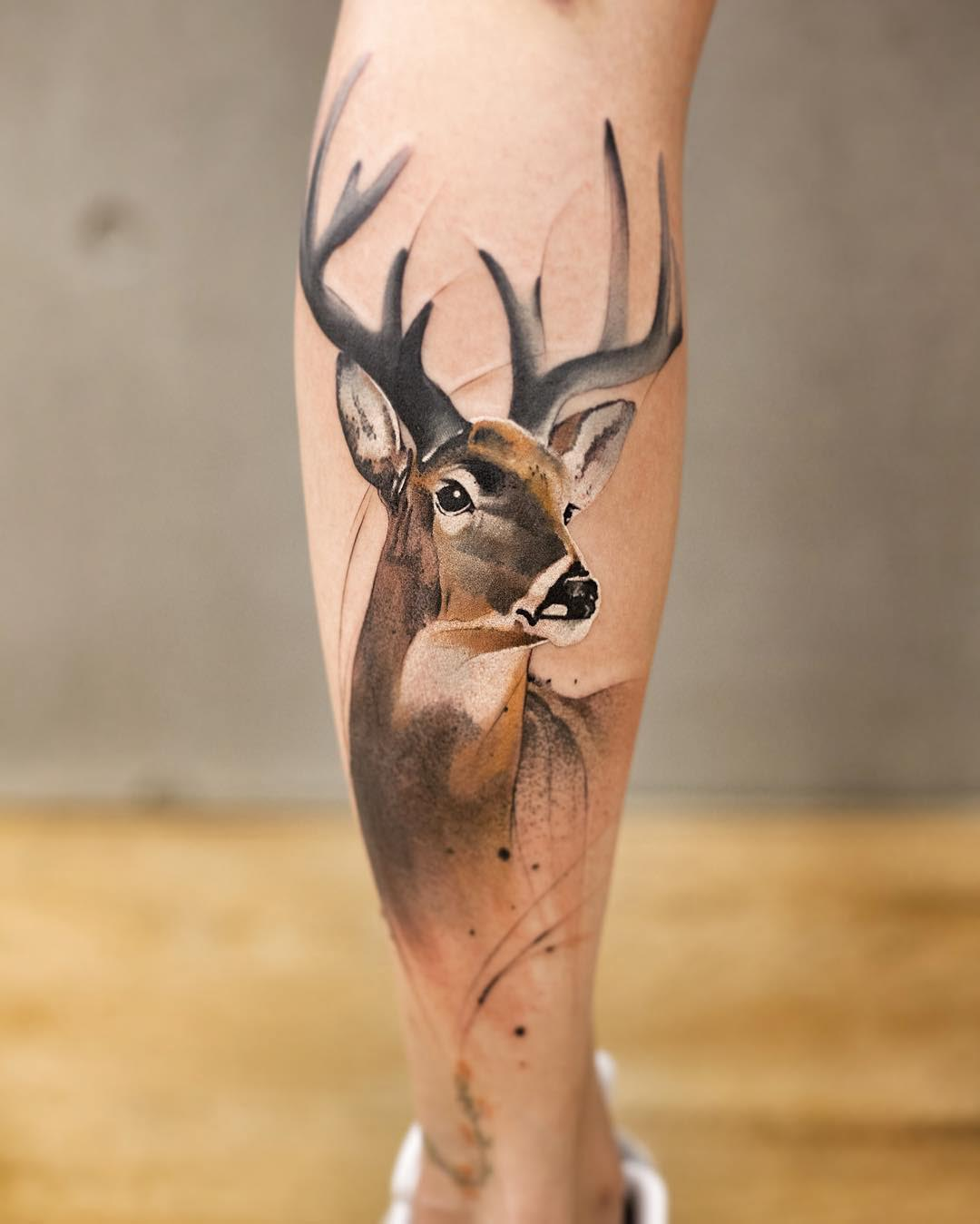 calf tattoo deer