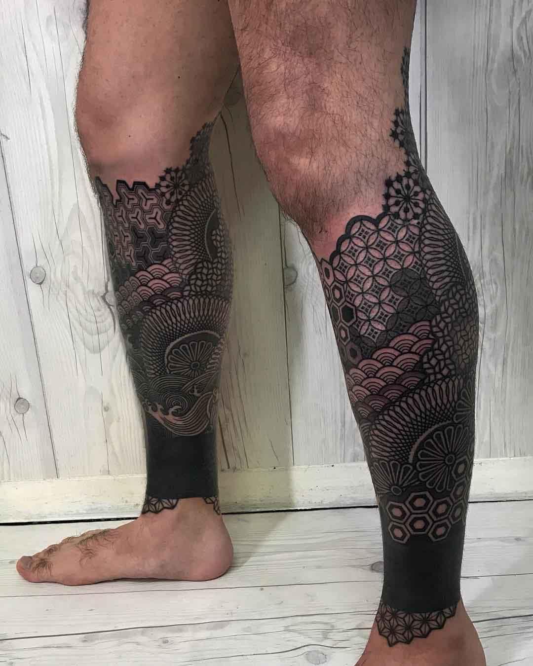 calf sleeves tattoo on leg