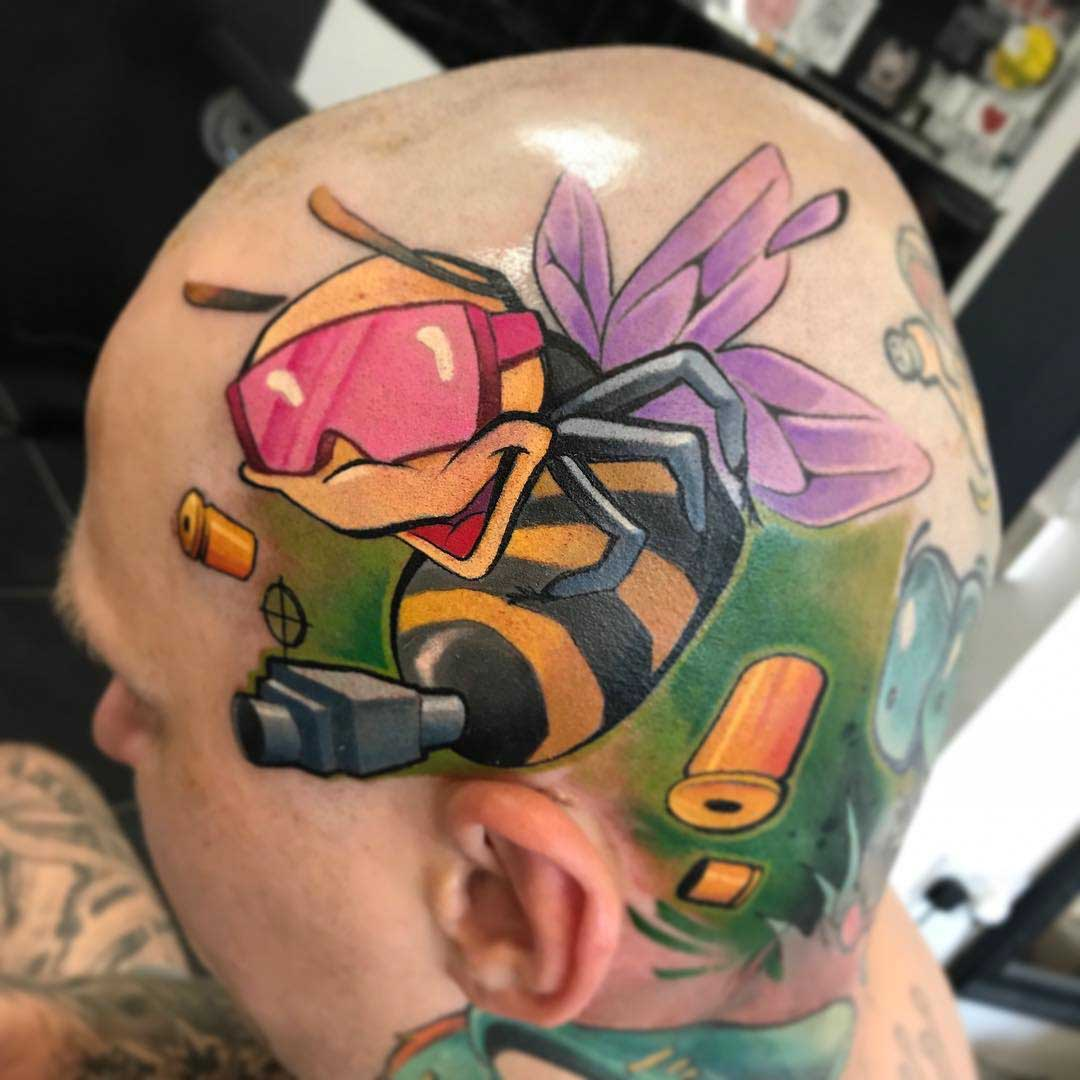head tattoo bee