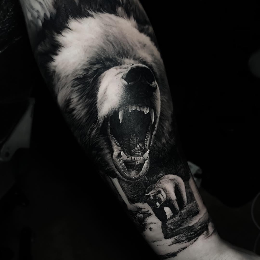 arm tattoo bear black and grey