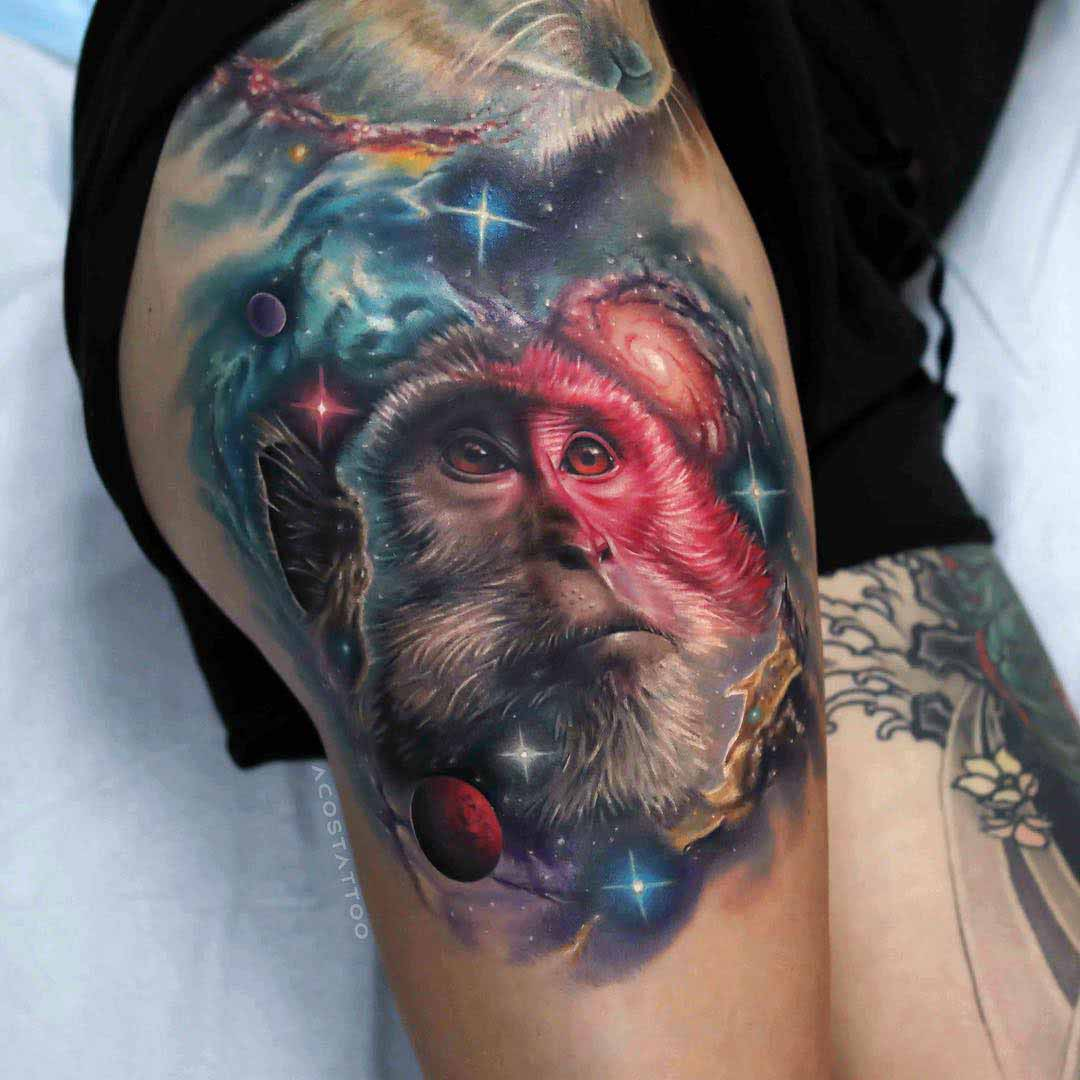 hip tattoo space monkey