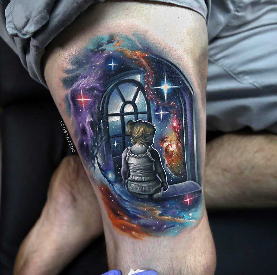 thigh tattoo space window