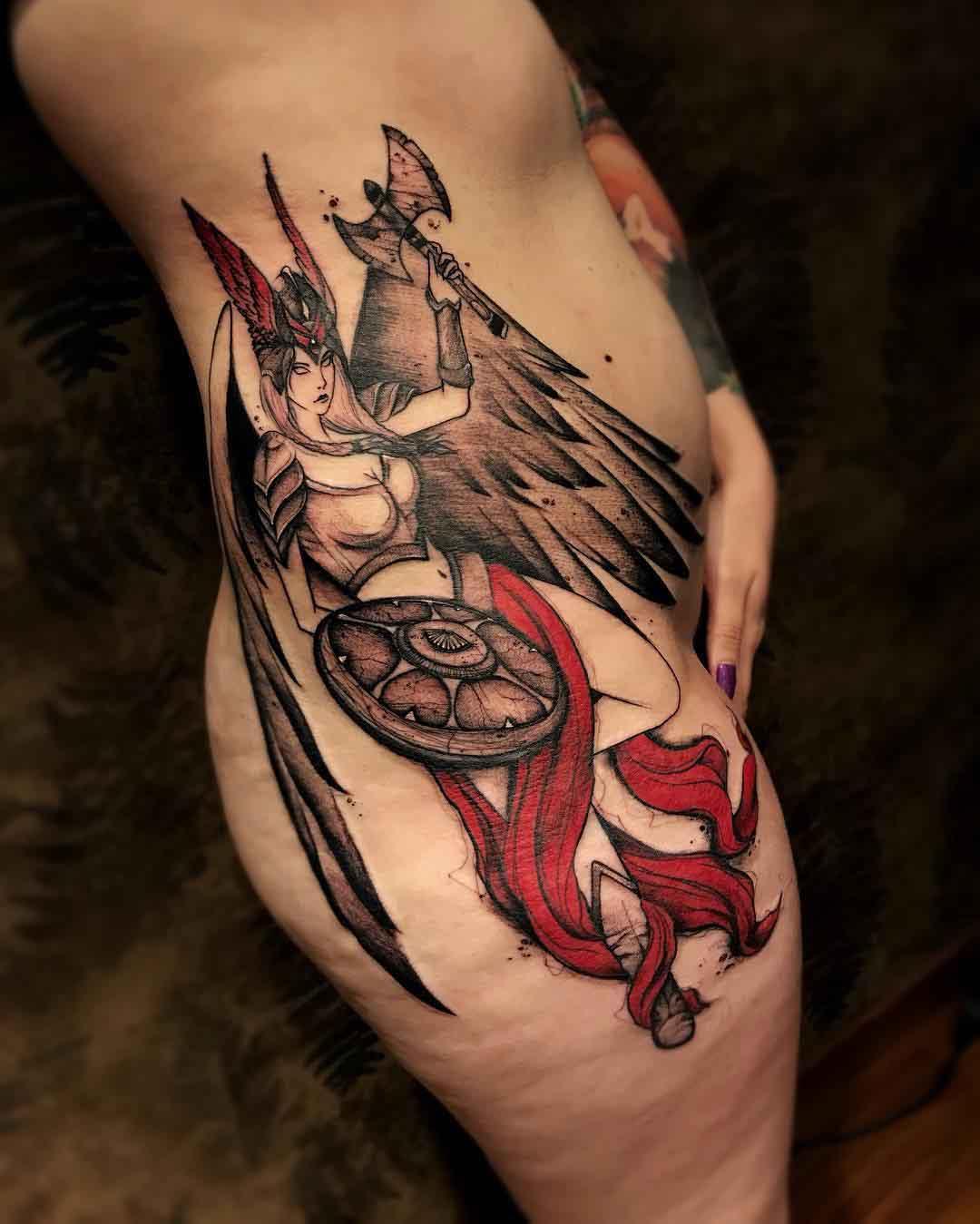 side hip tattoo valkyrie