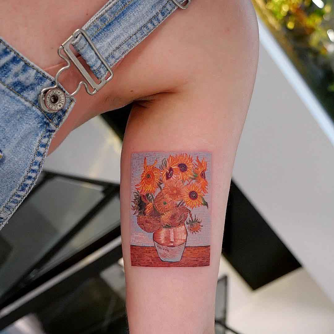 inner bicep tattoo van gogh