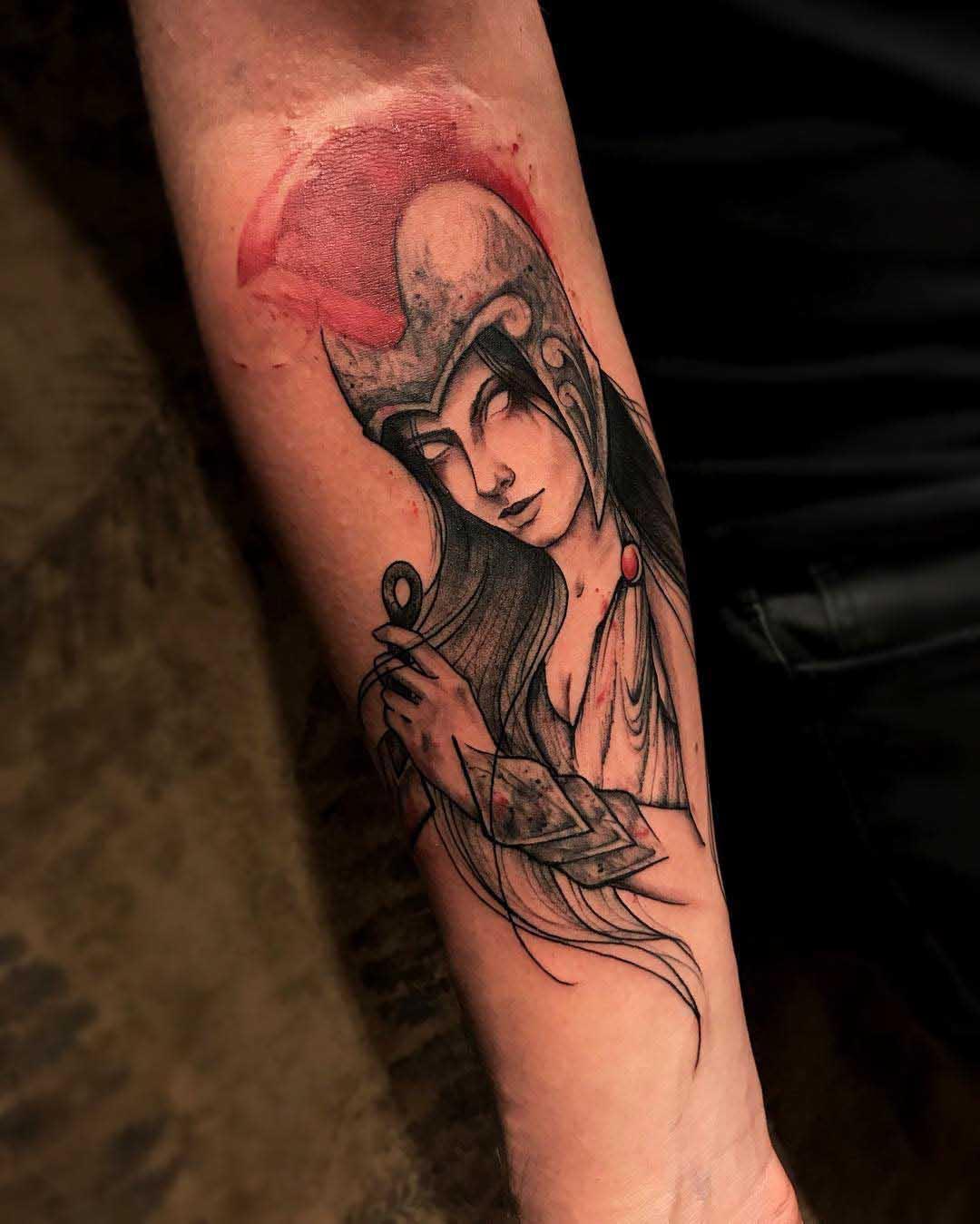 arm tattoo woman warrior