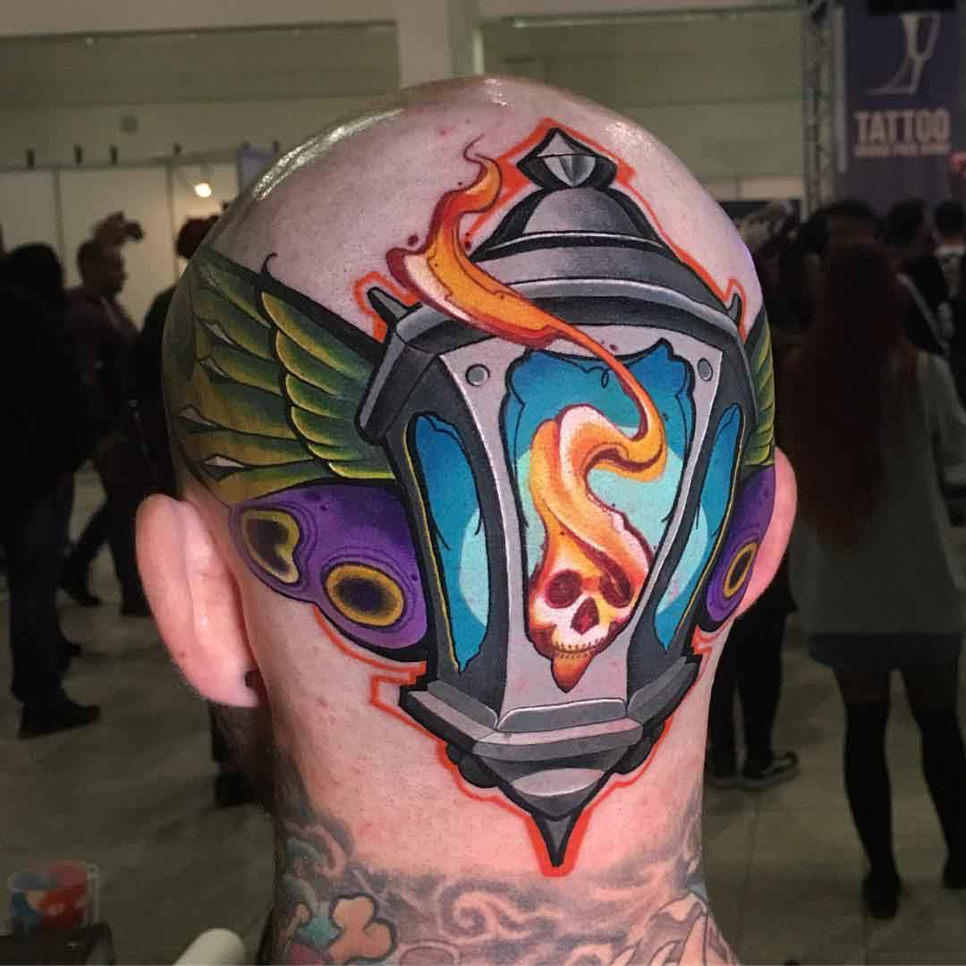 lantern tattoo back head